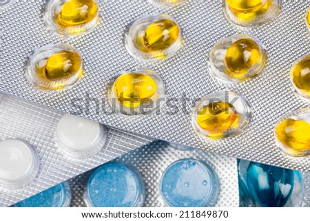 Closeup photo of the diversity colorful pills  - stock photo