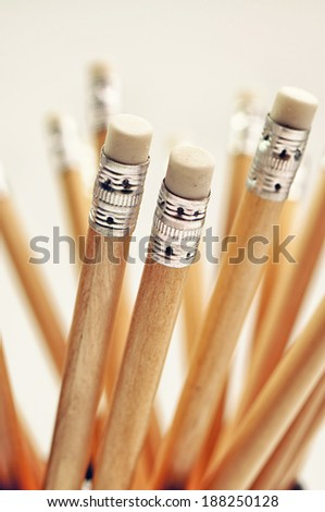 Closeup photo of wooden pencils - stock photo