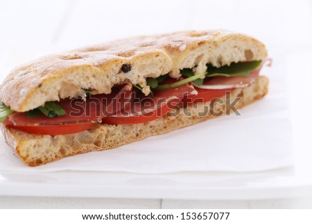 Closeup picture of a delicious sandwich over a white background
