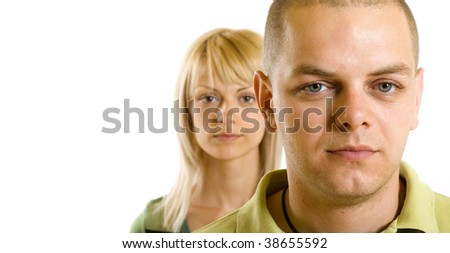 closeup picture of a man in front of a woman over white