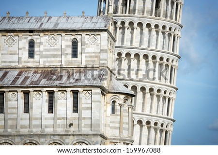 Closeup picture of the Leaning Tower in Pisa, Italy - stock photo