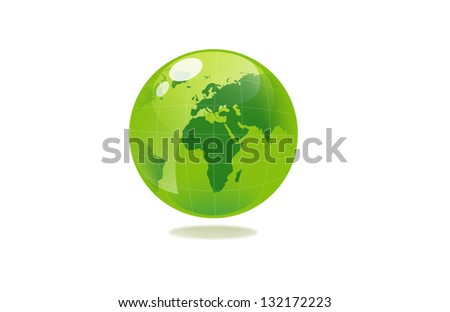 closeup picture or illustration of green sphere globe