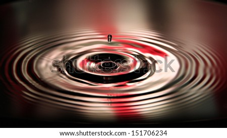 Closeup Pictures water drops a beautiful shape on Red and white Background. - stock photo