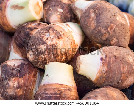 Closeup pile of fresh organic taro for retail sale in local market, Thailand (selective focus) - stock photo
