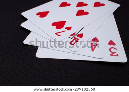 Closeup Playing card , selective focus , the word LOVE