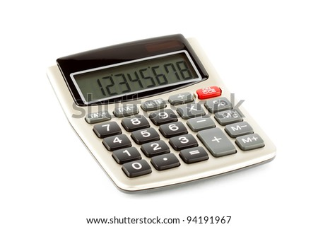 Closeup Pocket calculator on the white background - stock photo
