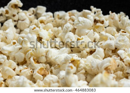 Closeup popcorn , the white puffs of delicious snack, freshly made popcorn