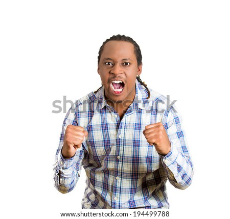 Closeup portrait angry man with fist, arms raised open mouth yelling, isolated white background. - stock photo