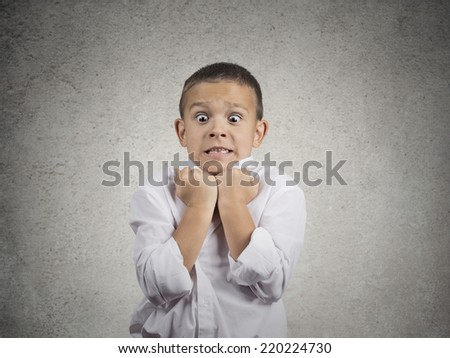 Closeup portrait angry scared child boy about to have nervous breakdown very displeased isolated grey wall background. Negative human emotions facial expression feeling attitude body language conflict - stock photo