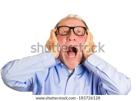 Closeup portrait, angry senior man, nerd black glasses, covering ears, looking up, to say, stop making that loud noise it's giving me a headache, isolated white background. Negative human emotion - stock photo