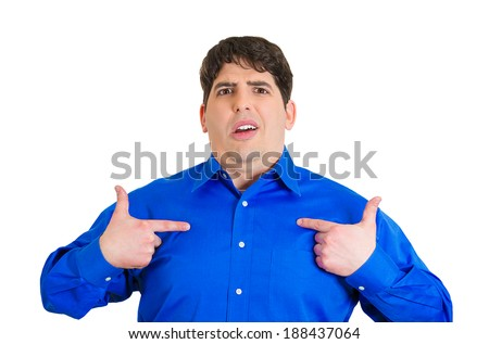 Closeup portrait, angry young business man, unexpectedly, asking question you talking to, mean me? Isolated white background. Negative human emotions, facial expressions, feelings, reaction - stock photo