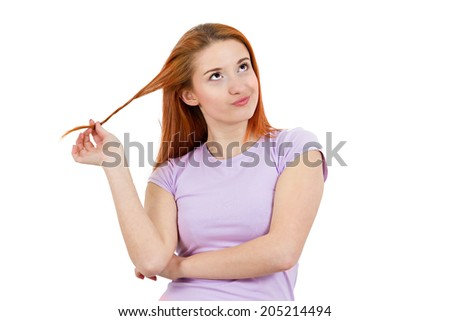 Closeup portrait attractive skeptical woman twirling hair in fingers upset plotting revenge, thinking, deciding isolated white background. Negative human emotion, facial expression, feelings, attitude - stock photo