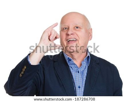Closeup portrait, bald, old silly goofy man gesturing with hand thumb to go out party, get drunk, hammered, wasted, tipsy, isolated white background. Positive emotion, facial expression feeling, signs - stock photo