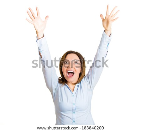 Closeup portrait, beautiful excited, energetic, happy, business student woman winner, arms in air, screaming, celebrating success, isolated white background. Positive human emotion, facial expression - stock photo