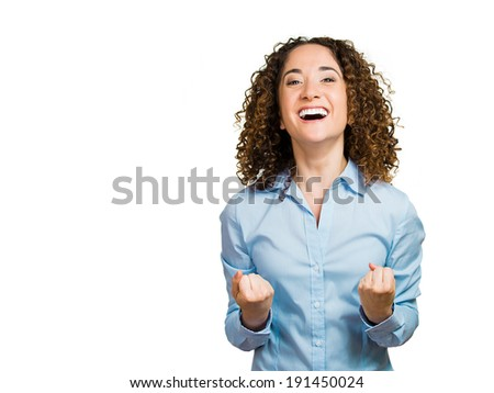 Closeup portrait beautiful excited, energetic, happy, screaming student, woman winner, arms, fists pumped, celebrating success, isolated white background. Positive human emotions, facial expressions - stock photo