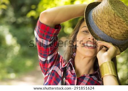 Closeup portrait beautiful happy woman enjoying summer day having fun in park. Positive human emotions feelings  - stock photo