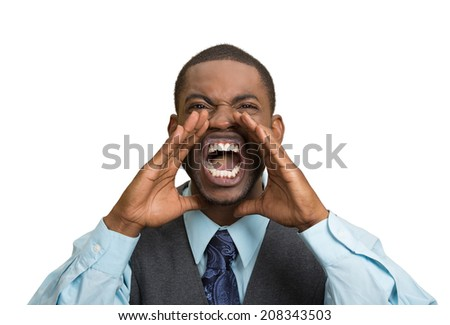 Closeup portrait bitter mad, displeased pissed off, angry grumpy corporate man, open mouth, hands in air, screaming, yelling isolated white background. Negative human emotion facial expression feeling
