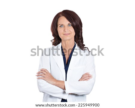 Closeup portrait confident happy smiling female doctor pharmacist scientist researcher isolated on white background. Positive face expressions. Healthcare plan, insurance, reform, patient care concept - stock photo
