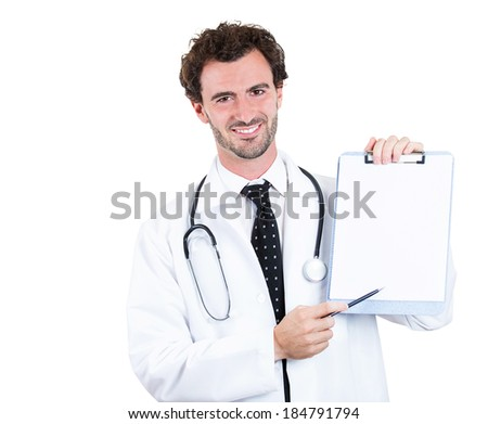 Closeup portrait confident male health care professional, doctor, nurse holding clipboard up, showing space for text, isolated white background. Patient consent, plan. Health care reform