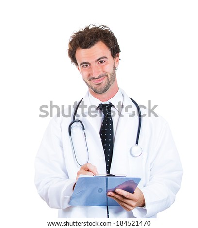 Closeup portrait, confident, smiling young male family doctor, cardiologist, health care professional taking notes from patient, isolated white background. Positive human emotions face expressions - stock photo
