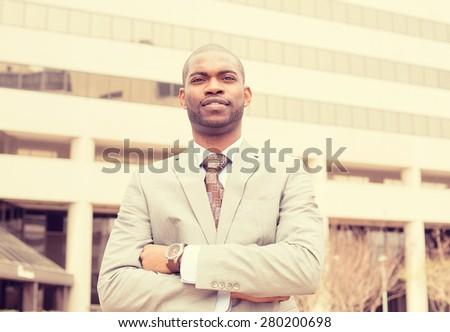 Closeup portrait confident successful business man  - stock photo