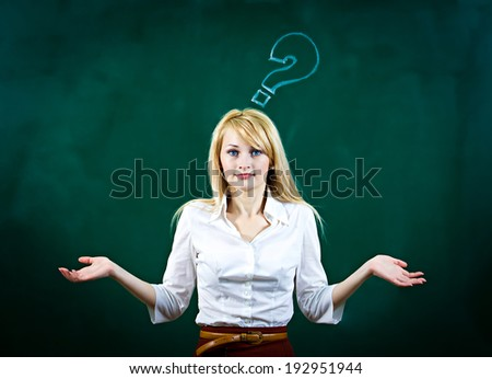 Closeup portrait confused, young woman asking with hands, not sure which way, where to go in life, isolated green background, with questions. Emotion, facial expression, feeling, reaction, perception - stock photo