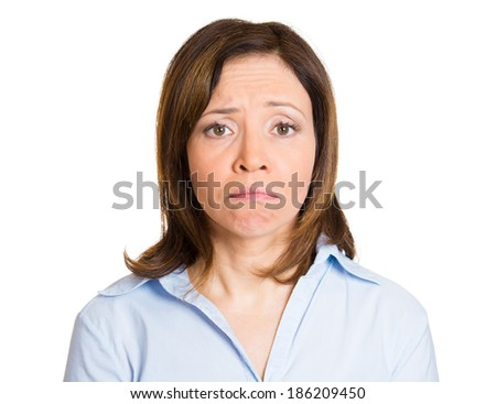 Closeup portrait dull, sad, alone, dark, gloomy, middle age mature woman, having bad nightmare day, isolated white background. Negative human emotions, facial expressions, feelings, life perception - stock photo