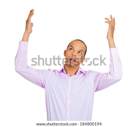 Closeup portrait dumb clueless funny looking young man, arms out asking what do I do now, isolated white background. Negative human emotions, facial expressions feelings. - stock photo