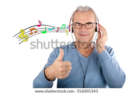 Closeup portrait elderly man, senior retired guy with headphones with notes, enjoying music and his life, isolated, Positive human emotions