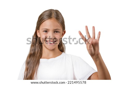 Closeup portrait excited happy teenager girl showing 4 fingers, giving number four sign isolated white background. Positive emotion face expressions, feelings, attitude, perception body language - stock photo