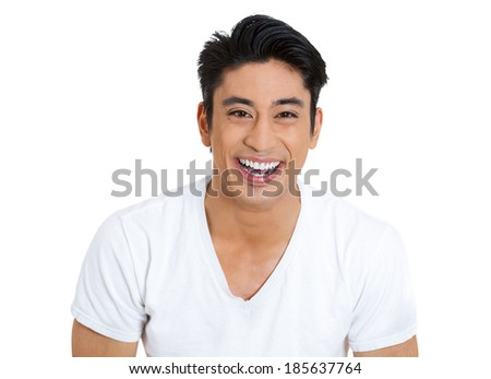 Closeup portrait, handsome, laughing successful young business man, student, worker, employee, isolated white background. Positive human emotions facial expressions, feelings, attitude perception - stock photo