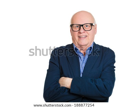Closeup portrait, happy, cheerful, bald, smiling senior mature nerd man in black glasses, arms crossed, isolated white background. Positive human emotions, facial expressions, feelings, attitude - stock photo