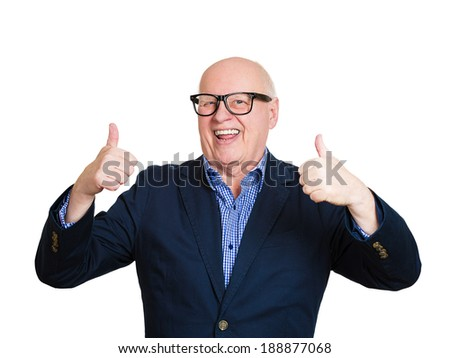 Closeup portrait, happy, cheerful, smiling senior mature nerd man in black glasses showing thumbs up sign, isolated white background. Positive human emotions, facial expressions, feelings, attitude - stock photo