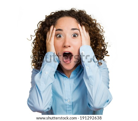Closeup portrait happy, cute, young beautiful woman looking excited, surprised, full disbelief, hands on head, it's me? isolated white background. Positive human emotions, facial expression, reaction - stock photo