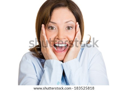 Closeup portrait happy cute young beautiful woman looking excited, surprised in full disbelief, hands on face, it's me? isolated white background. Positive human emotion, facial expression, perception - stock photo