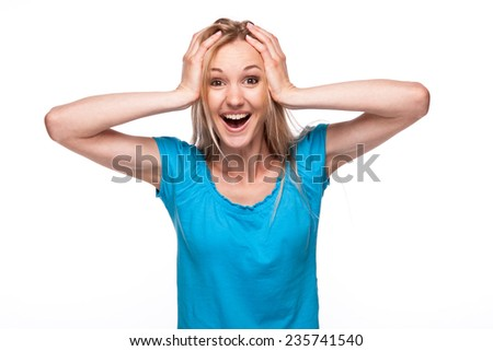 Closeup portrait happy, funny looking woman, shocked, in full disbelief hands in air, isolated white background - stock photo