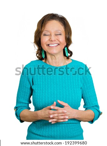 Closeup portrait happy, senior, elderly woman laughing hysterically, giggling isolated white background. Positive human emotions, facial expressions, reaction, feelings, attitude, life perception - stock photo