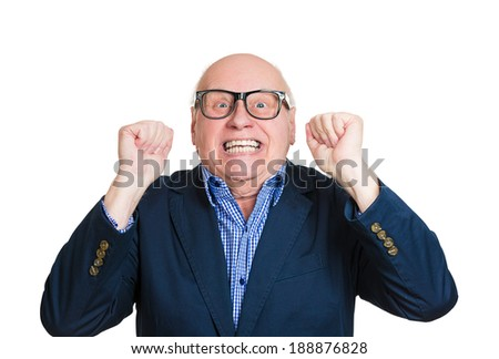Closeup portrait, happy, senior mature nerd man looking shocked surprised in full disbelief fists in air, open mouth eyes, isolated white background. Positive human emotion facial expression feeling - stock photo