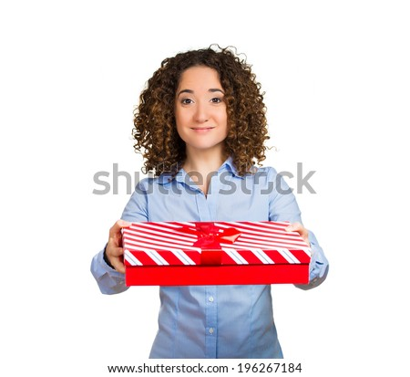 Closeup portrait happy, smiling business woman holding gift box in hands giving someone present isolated white background. Positive human emotion facial expression, feelings, attitude, life perception - stock photo