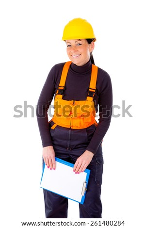 CloseUp portrait happy smiling woman builder in yellow helmet and notepad, isolated white background.