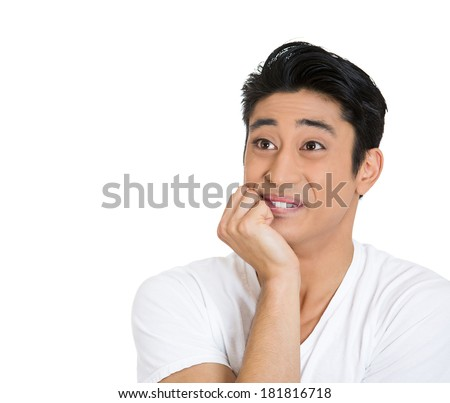 Closeup portrait happy, upbeat, smiling joyful young man, guy looking upwards with chin on fist daydreaming, thinking isolated white background. Positive emotion, facial expression feelings, attitude - stock photo
