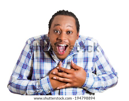Closeup portrait happy, young, handsome man looking shocked, surprised in full disbelief hands on chest open mouth eyes, isolated white background. Positive human emotions, facial expressions, feeling - stock photo