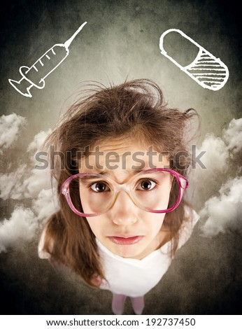 Closeup portrait, headshot little sad girl with glasses, scared, afraid, about to cry, isolated background with syringe, blood sample tube. Negative human emotion, facial expression, reaction, feeling - stock photo