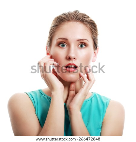 Closeup portrait headshot terrified young business woman looking shocked - stock photo