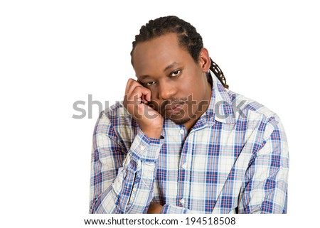 Closeup portrait, headshot upset, sad, depressed worried young man, student, son, worker, isolated white background.  - stock photo