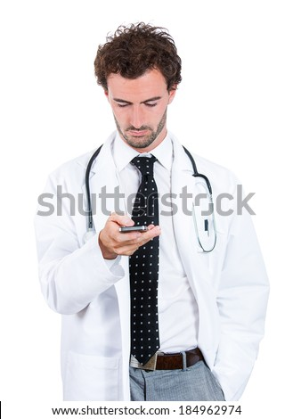 Closeup portrait healthcare professional, doctor, nurse, dentist, researcher, physician assistant, reading text sms, message on cell phone, isolated white background. - stock photo