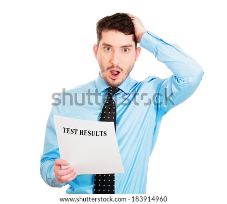 Closeup portrait, horrified, shocked, funny looking young man disgusted by his test results statement, isolated white background. Negative human emotion facial expression feelings.  - stock photo