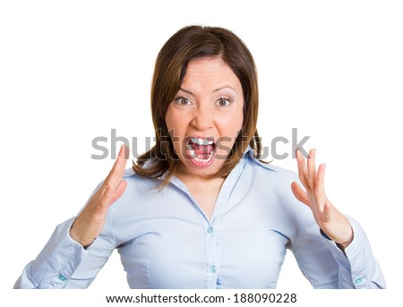 Closeup portrait, mad, angry, upset, hostile middle aged woman, worker, furious employee, yelling, screaming, hands in air, isolated white background. Negative emotions, facial expression reaction - stock photo