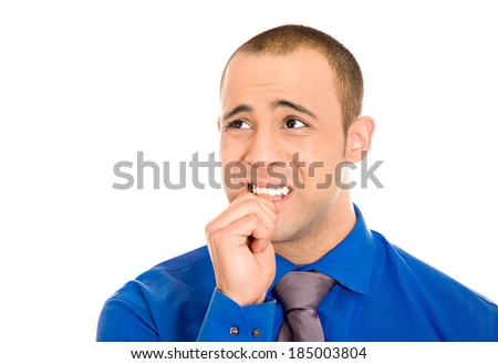 Closeup portrait, man with finger in mouth, sucking thumb, biting fingernail in stress, deep thought, isolated white background. Negative human emotion, facial expression, feelings - stock photo