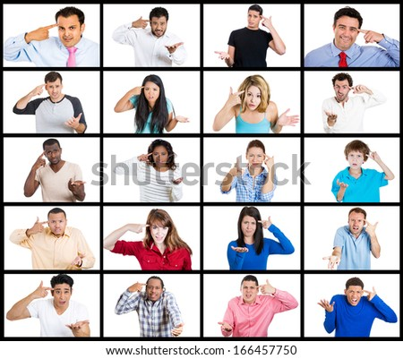 Closeup portrait multicultural ethnic collage of angry young people gesturing with finger against temple, are you crazy? Isolated on white background. Negative human emotion facial expression feeling - stock photo